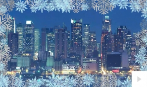 Snowy Breeze Cities corporate holiday business ecard
