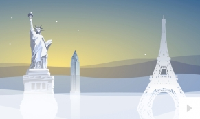 Symbolic Landmarks corporate holiday business ecard