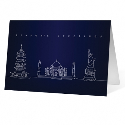 Landmark Lines corporate holiday business print card