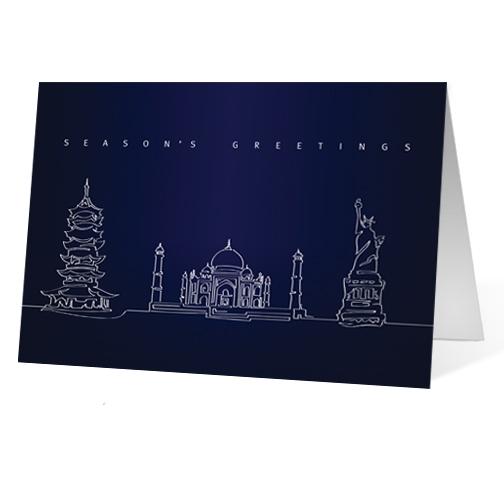 Landmark Lines corporate holiday business print card