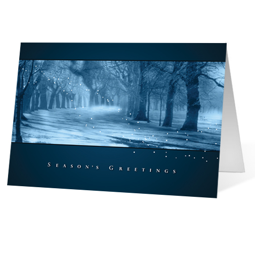 Misty Morning corporate holiday business print card