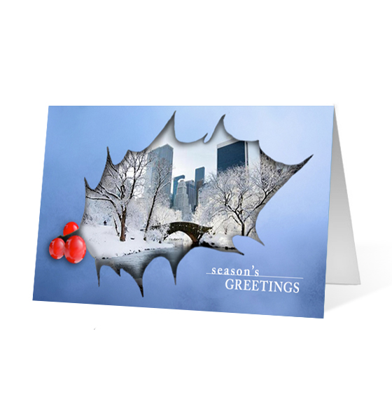 Holiday Holly corporate holiday business print card
