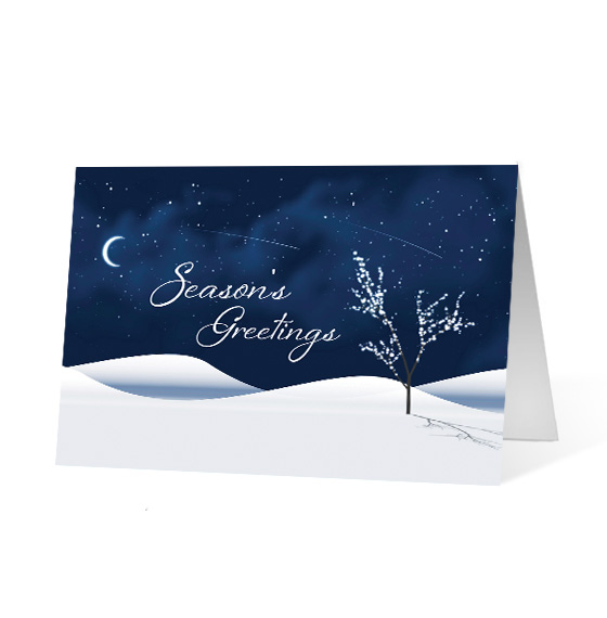Magical corporate holiday business print card