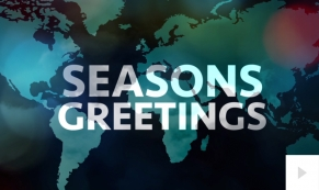 Cities Fly Through corporate holiday business ecard