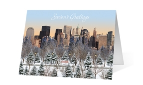 City Sunday Morning Christmas Greeting Card