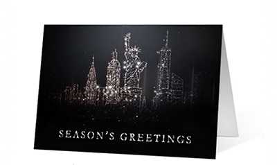 City Spark Particles Season's Greetings Card