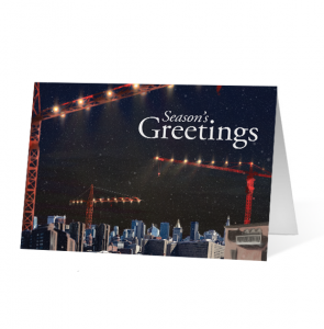 Winter Crane City scene Holiday Greeting Card