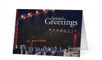 Winter Crane City Scene Holiday Greeting Card