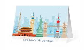 Cartoon Landmark Holiday Greeting card