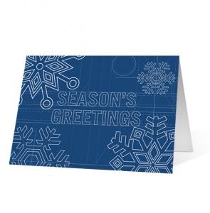 Holiday Snowflake Blueprint Christmas Greeting Card