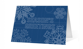 Holiday Snowflake Blueprint Christmas Greeting Card