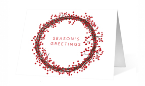Holiday Berries Wreath Holiday Greeting Card