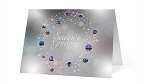 White and Blue Wreath Photo Christmas Greeting Card