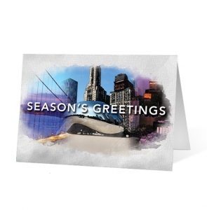Watercolor Scenes Christmas Print Card
