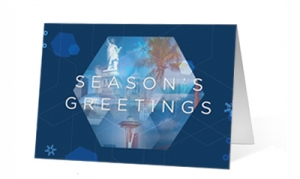 Christmas Holiday Greetings Hexagon Print Card