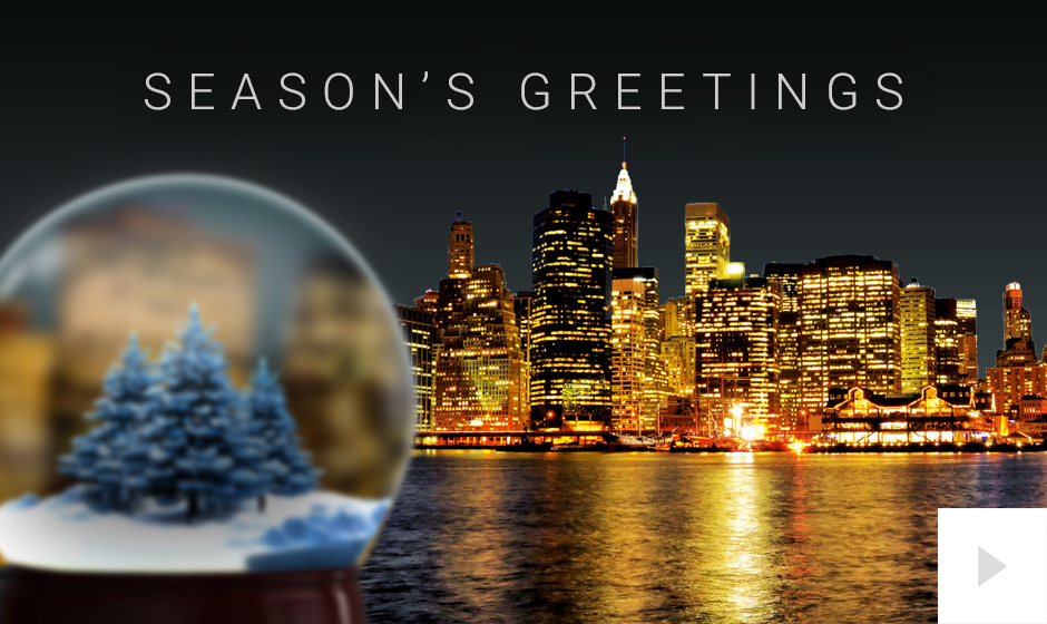 city snowglobe Christmas Holiday business ecard